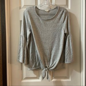 Caution To The Wind Grey Tie Knot Front Knit Top
